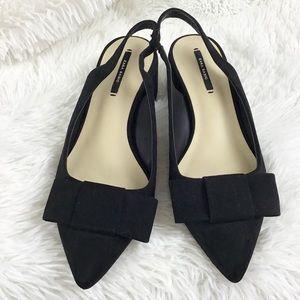 Zara Basics black suede bow block heel sz 37